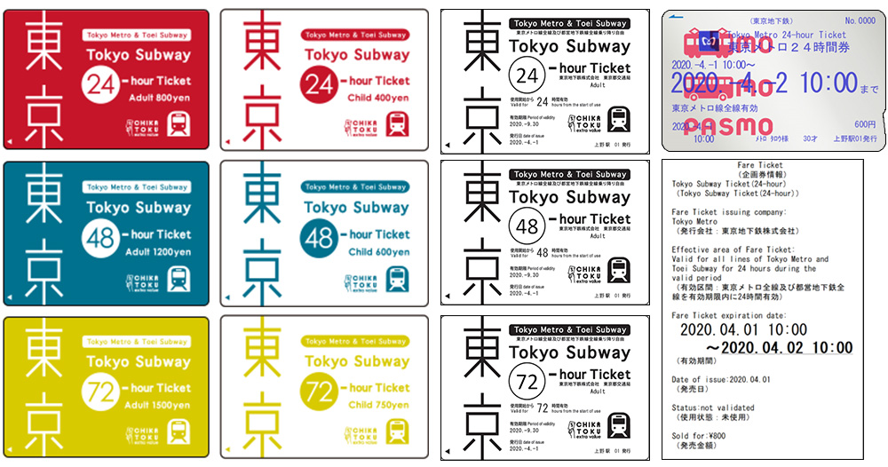 Tokyo Subway Ticket (24-hour, 48-hour, 72-hour)
